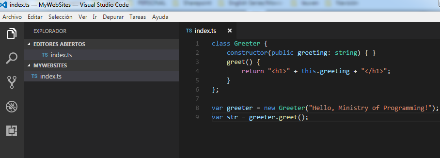 Visual Studio Code first TypeScript code